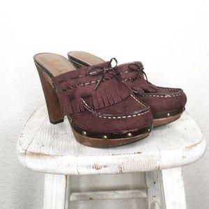 90s Wood Vegan Suede Leather Platform Clog Heels